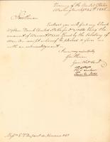 Correspondence, Thomas Tucker, Treasurer of the United States,  to E.I. du Pont de Nemours and Company, 1805-09-24