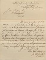 Correspondence, W. J. Sill [George McHenry and Company] to John Peoples [E. I. du Pont de Nemours and Company], 1853-02-07