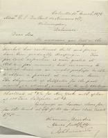 Correspondence, Ashburner and Company to E. I. du Pont de Nemours and Company, 1876-03-31