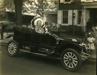 T. Clarence Marshall in 1913 Stanley, dressed as Indian Chief for V-J Day parade