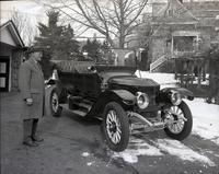 T. Clarence Marshall with Coffin Nose Stanley Steamer at rear of Auburn Heights
