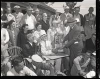 Awarding prizes at 1948 Marshall Trapshoot