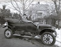 T. Clarence Marshall driving Stanley car behind Auburn Heights, Yorklyn