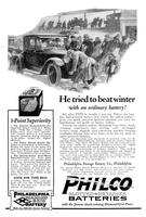 He tried to beat winter with an ordinary battery! But after THIS he bought a man-size Philco - the long-life, high powered battery that whirls the stiffest engine