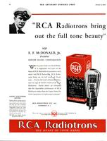 """RCA Radiotrons bring out the full tone beauty"" says E.F. McDonald, Jr...."