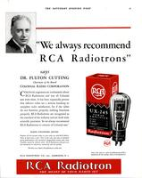 """We always recommend RCA Radiotrons"" says Dr. Fulton Cutting..."