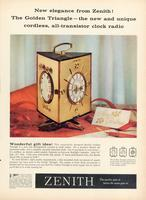 New elegance from Zenith! The Zenith Triangle - the new and unique cordless, all-transistor clock radio