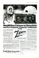 "MacMillan listens to Honolulu and New Zealand ""Tunes In"" California using Zenith long-distance radio"
