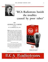 """RCA Radiotrons banish the troubles caused by poor tubes"" says Alfred H. Grebe..."