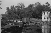 Construction on Breck's Mill dam on Brandywine Creek