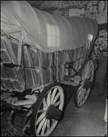 Conestoga powder wagon in barn
