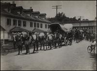Powder wagon train leaving Hagley Yard lower gate toward Henry Clay on way to Perry Centennial, Erie, Pennsylvania