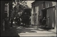 Conestoga wagon train in Hagley Yard