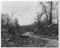 View from Cooper's Shop on Breck's Lane looking east along Wilmington and Northern Railroad tracks toward New Bridge Station.