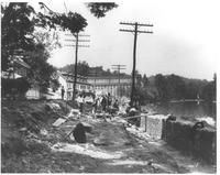 Road bed and stone wall construction before beginning of Peoples Railway on Creek Road (Main Street) in Henry Clay, Delaware