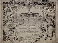 Westmoreland Coal Co. certificate from the South Carolina Interstate and West Indian Exposition