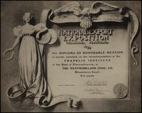 Westmoreland Coal Co. certificate from the National Export Exposition