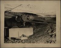 View showing the delivery end of an underground coal conveyor at Derby Colliery