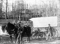 Wagon for transporting empty metallic kegs to the mills