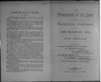 The perseverance of the saints : a protection symposium : the McKinley bill in New England