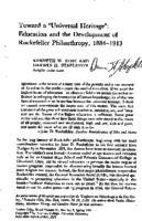 "Toward a ""universal heritage"" : education and the development of Rockefeller philanthropy, 1884-1913"