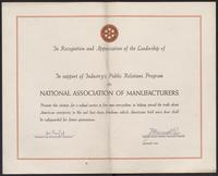 Industry Public Relations Program certificate (January 1947)
