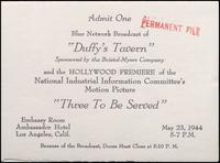 'Three to be Served' premiere ticket (May 1944)