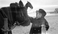 Cortlandt Schoonover as young child petting horse