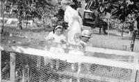 Women with two young children looking at a chicken coop at Bushkill