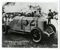 Charles Moran, Jr., Driver, and George Reed, Mechanic, in Du Pont Special at Indianapolis Motor Speedway