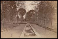 Unidentified open pavilion and long fountain/waterfall
